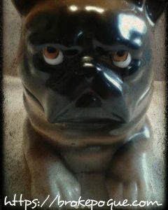 Encrier Bulldog Français en porcelaine